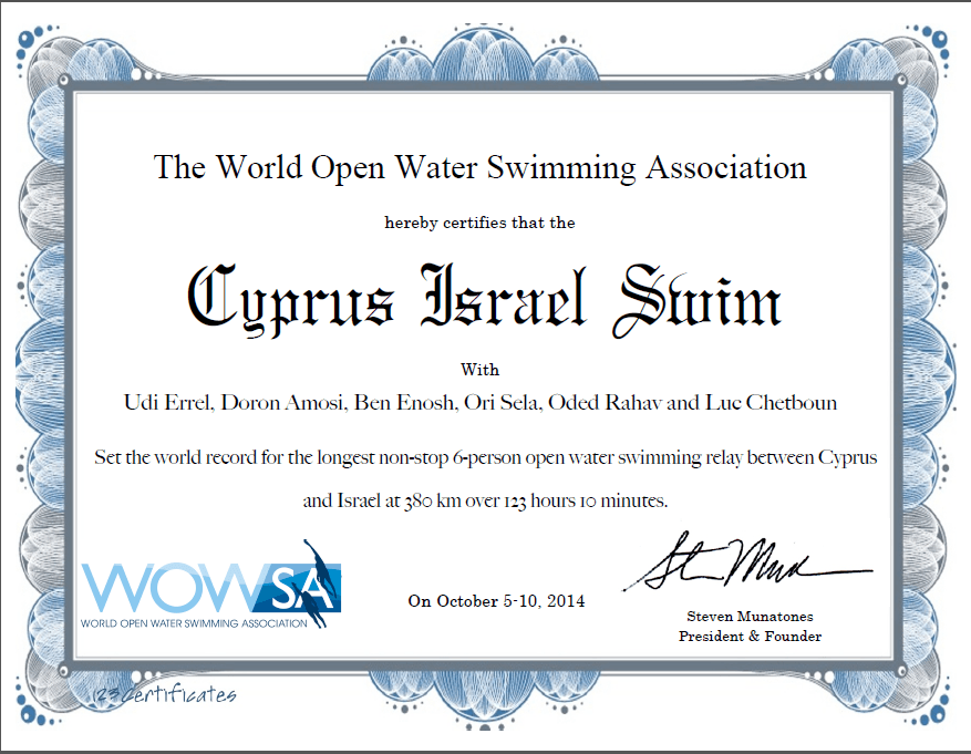 Cyprus Israel Swim - World Record Certificate