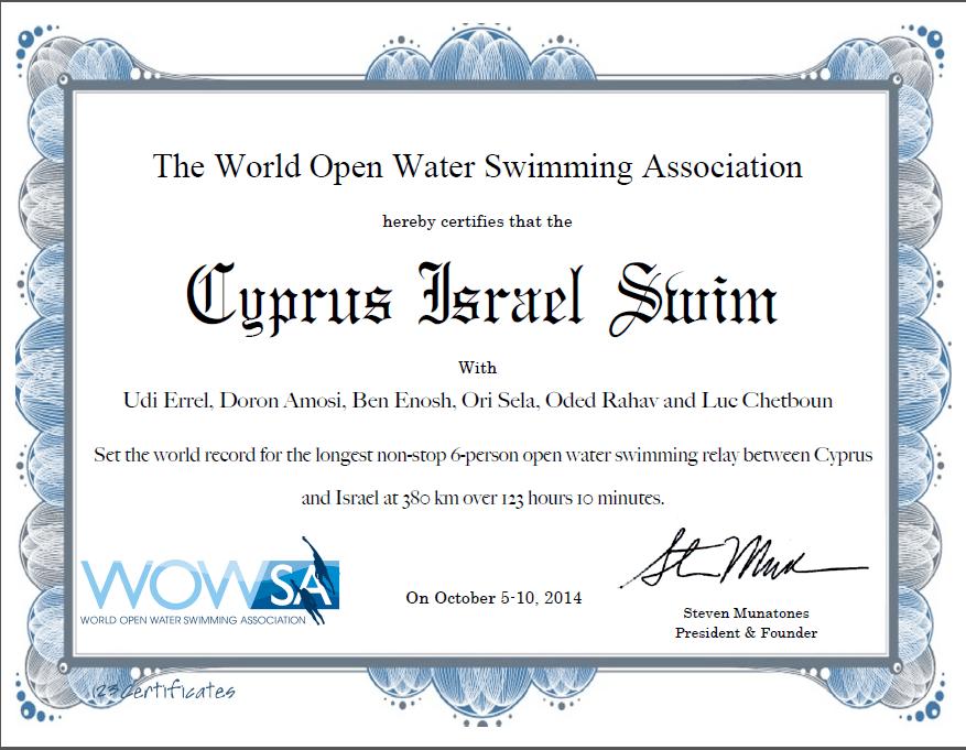 Cyprus Israel Swim - World Record Certificate